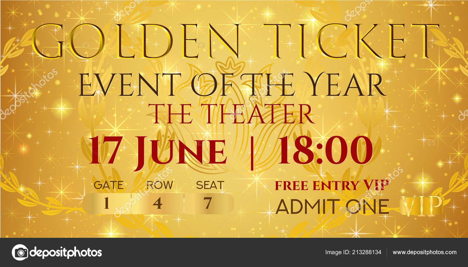 Golden Ticket Template Concert Mockup Gold Starry Glitter Stockvektor