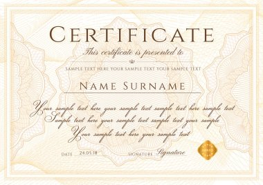Certificate template with Guilloche pattern, frame border. Design for Diploma, certificate of appreciation, certificate of achievement, certificate of completion, of excellence, of attendance, award