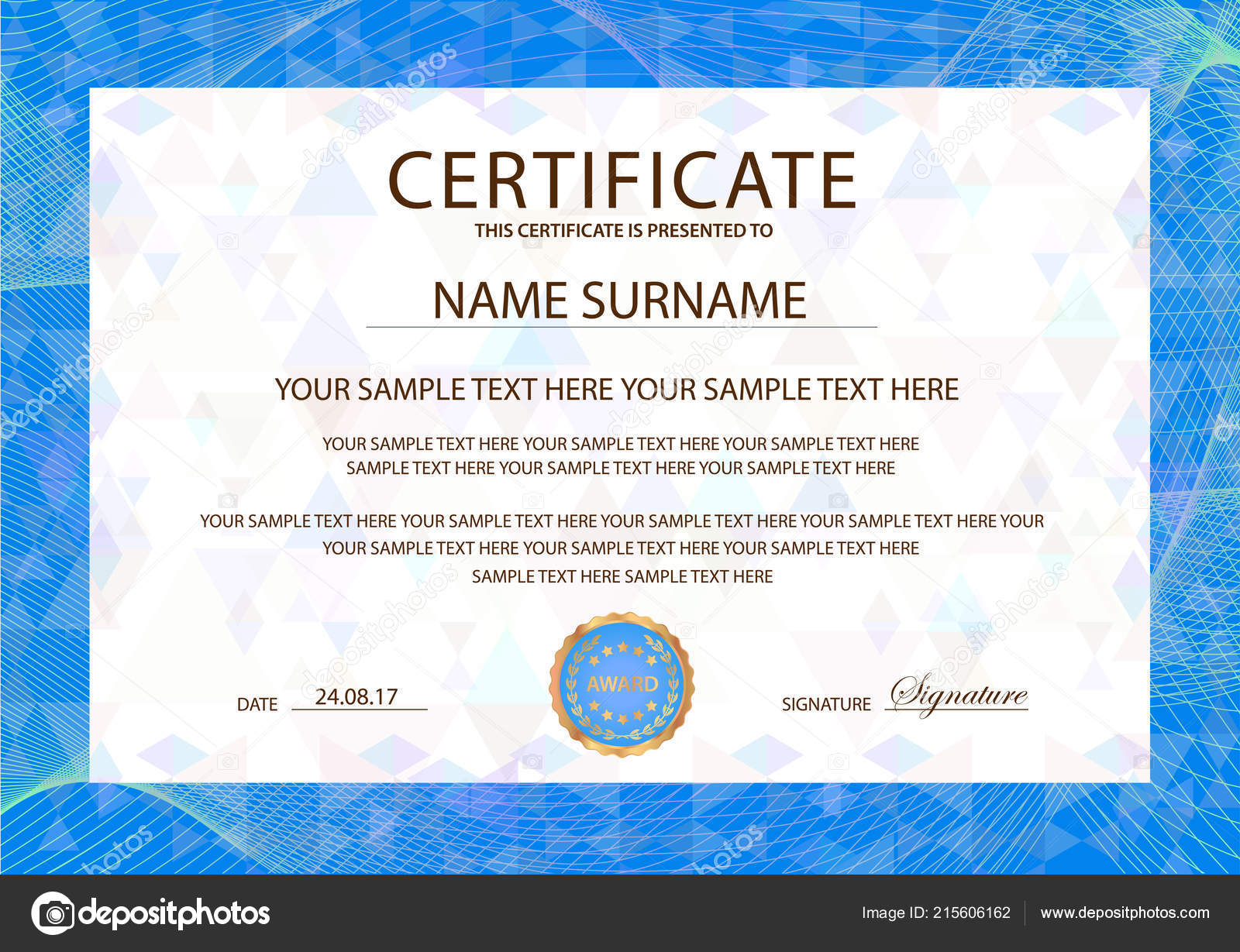 Certificate Template Blue Guilloche Frame Border Design Diploma
