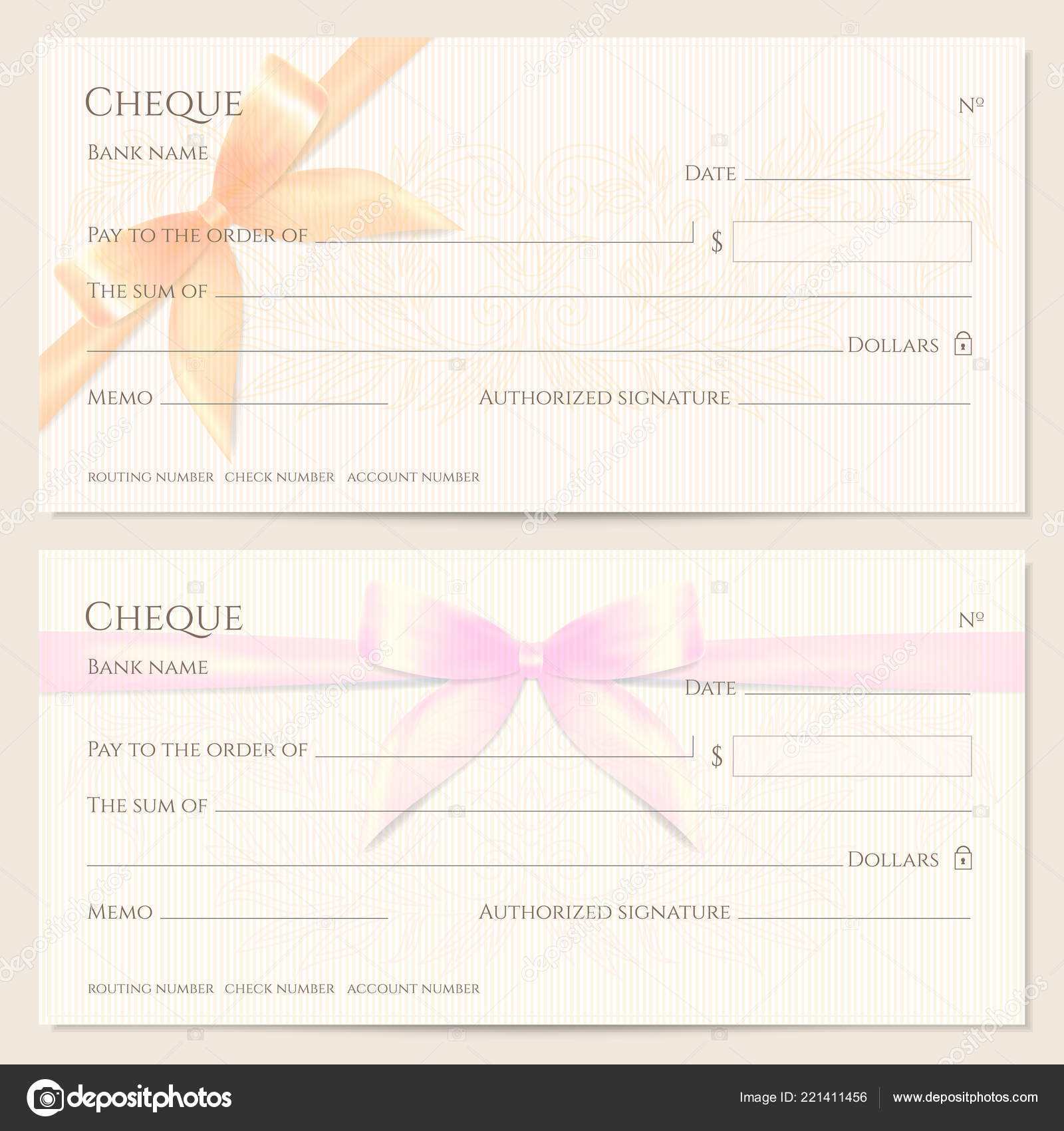 check cheque chequebook template floral pattern orange pink bow