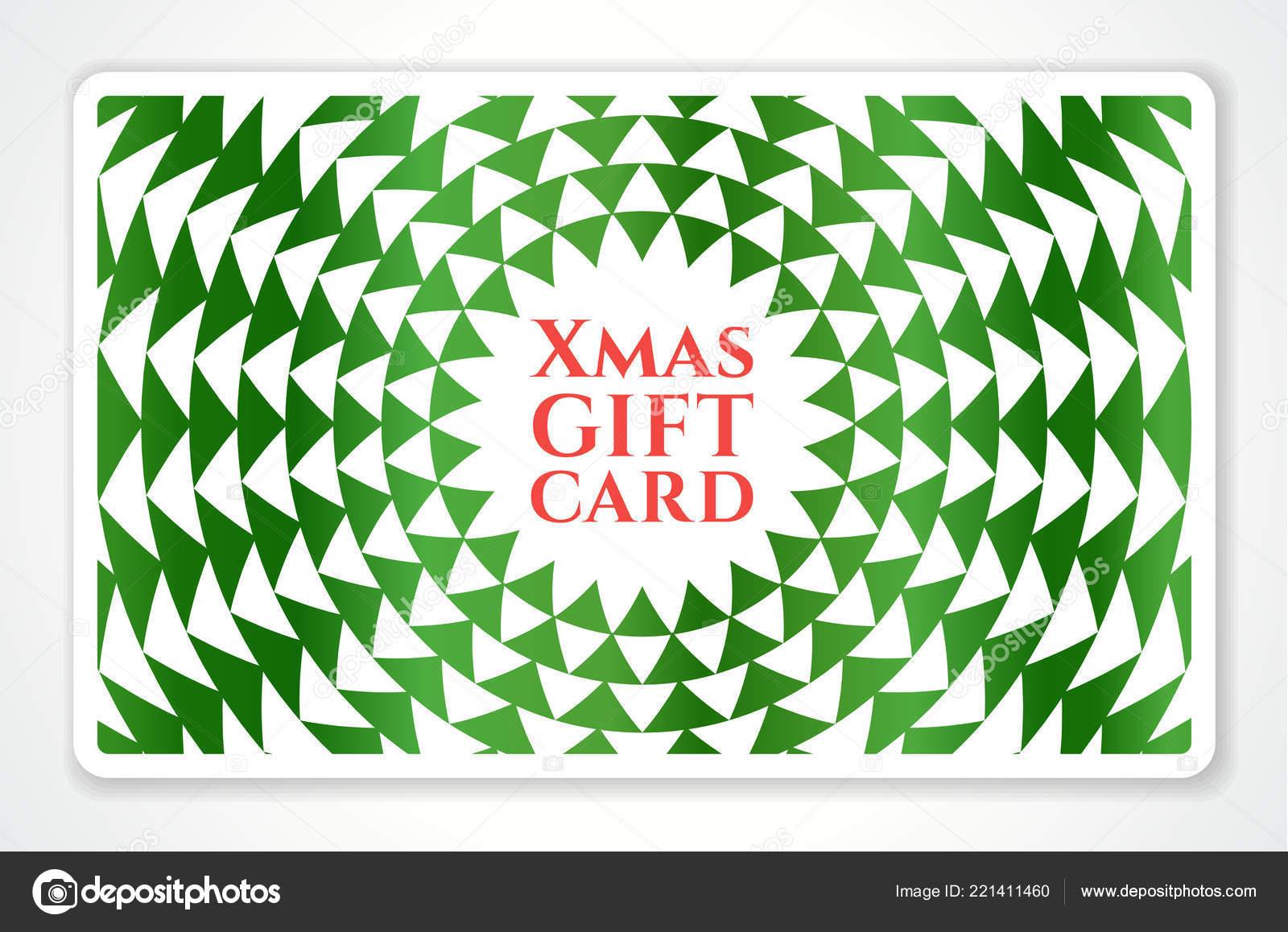 Gutschein Weihnachtsbaum.Urlaubsgeschenk Karte Mit Abstrakten Weihnachtsbaum Grüne Geometrie