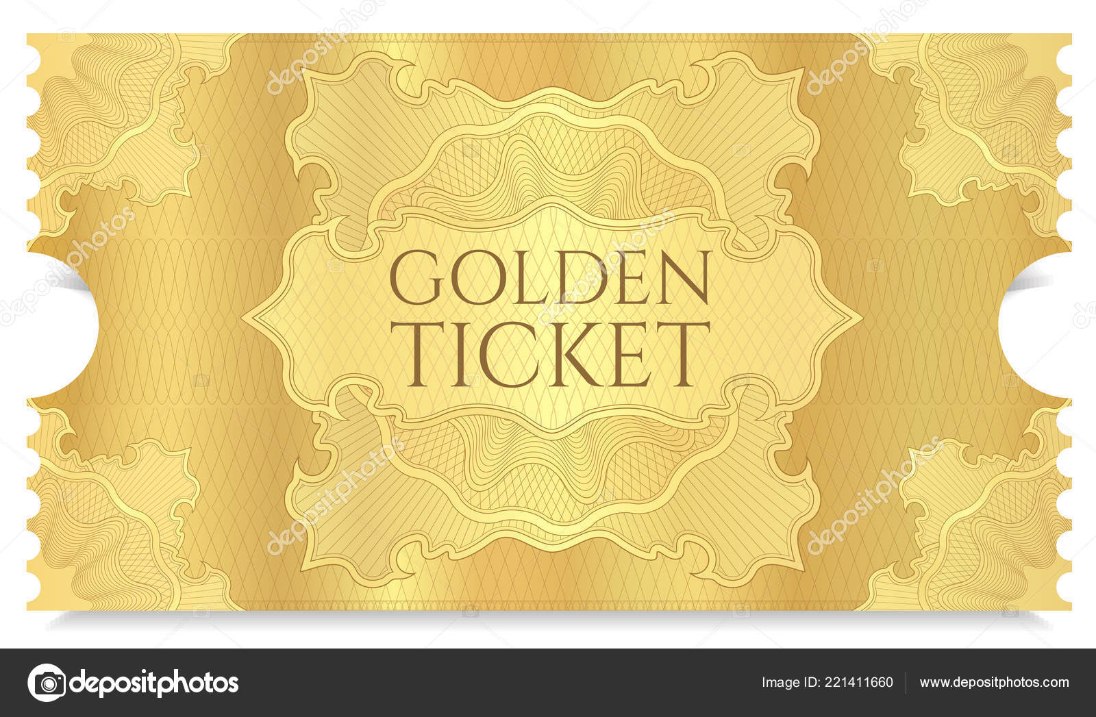 golden cinema ticket template concert ticket gold background curve
