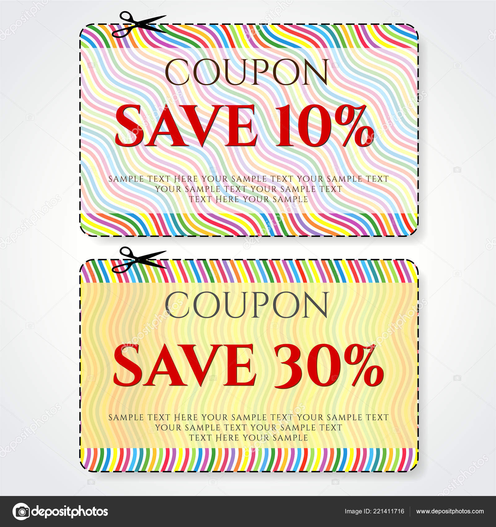 discount coupon voucher vector stripe background template colorful