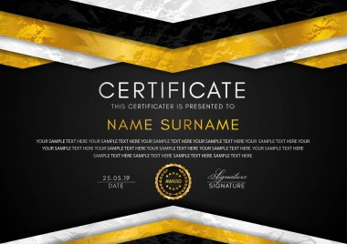 Certificate template with geometry frame and gold badge. Luxury back background design for Diploma, certificate of appreciation or award