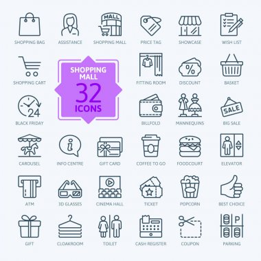 Shopping mall - minimal thin line web icon set. Outline icons collection.Simple vector illustration.