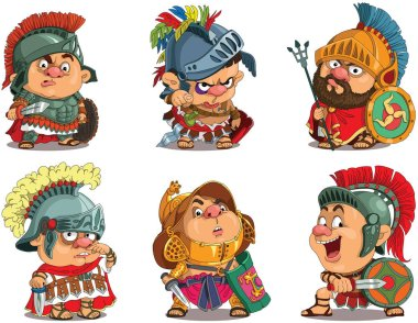 Cartoon. Vector.  Set Funny gladiators.  Roman soldiers in armor. Travesty cartoon. Characters.  Isolated objects. stock vector