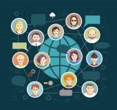 sociální média kruhy, sítě, obrázek, vektor, ikony