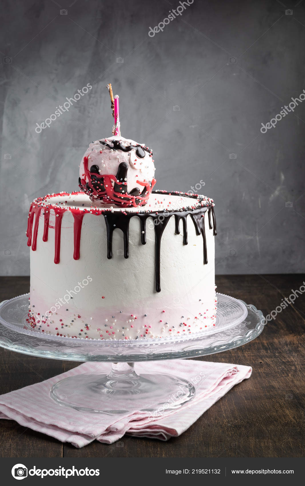 Marvelous Birthday Drip Cone Cake Sprinkles Gray Background Making Cake Personalised Birthday Cards Sponlily Jamesorg