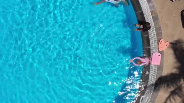 Top view to swim training in swimming pool in tropical nature. Palms around pool. Happy kids and trainer are swimming in pool. Swimming lessons. Summer beautiful aerial view.