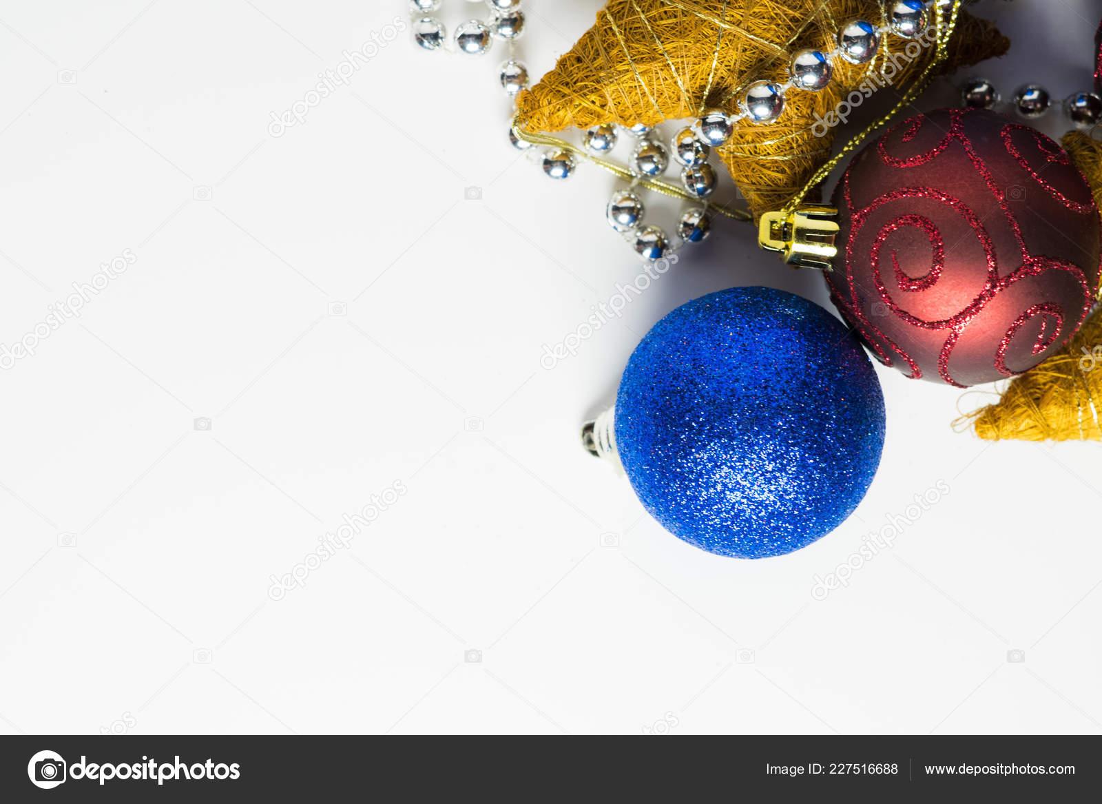 Christmas Toys Decoration White Background Christmas Cards — Stock ...