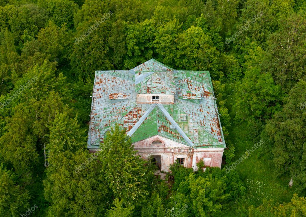 Top aerial view shot. Part of abandoned building complex of Soviet military base on the Pakri Peninsula near town Paldiski in Estonia. History of Cold War!