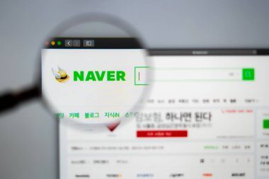 Naver company website homepage. Close up of Naver Corporation lo