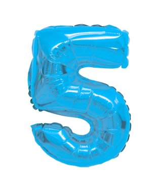 number 5 (five) of light blue balloons on a white background. discounts and sales, holidays and education