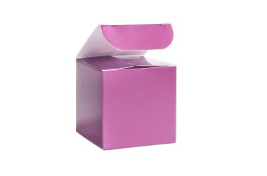 One pink open box, blank packing on isolated background