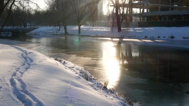 Zimní slunečného dne venku. Protékající řeka v zimě. Mráz na větve.