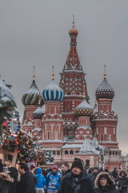 St. Basils Cathedral on Red Square in winter, Moscow, Russia.