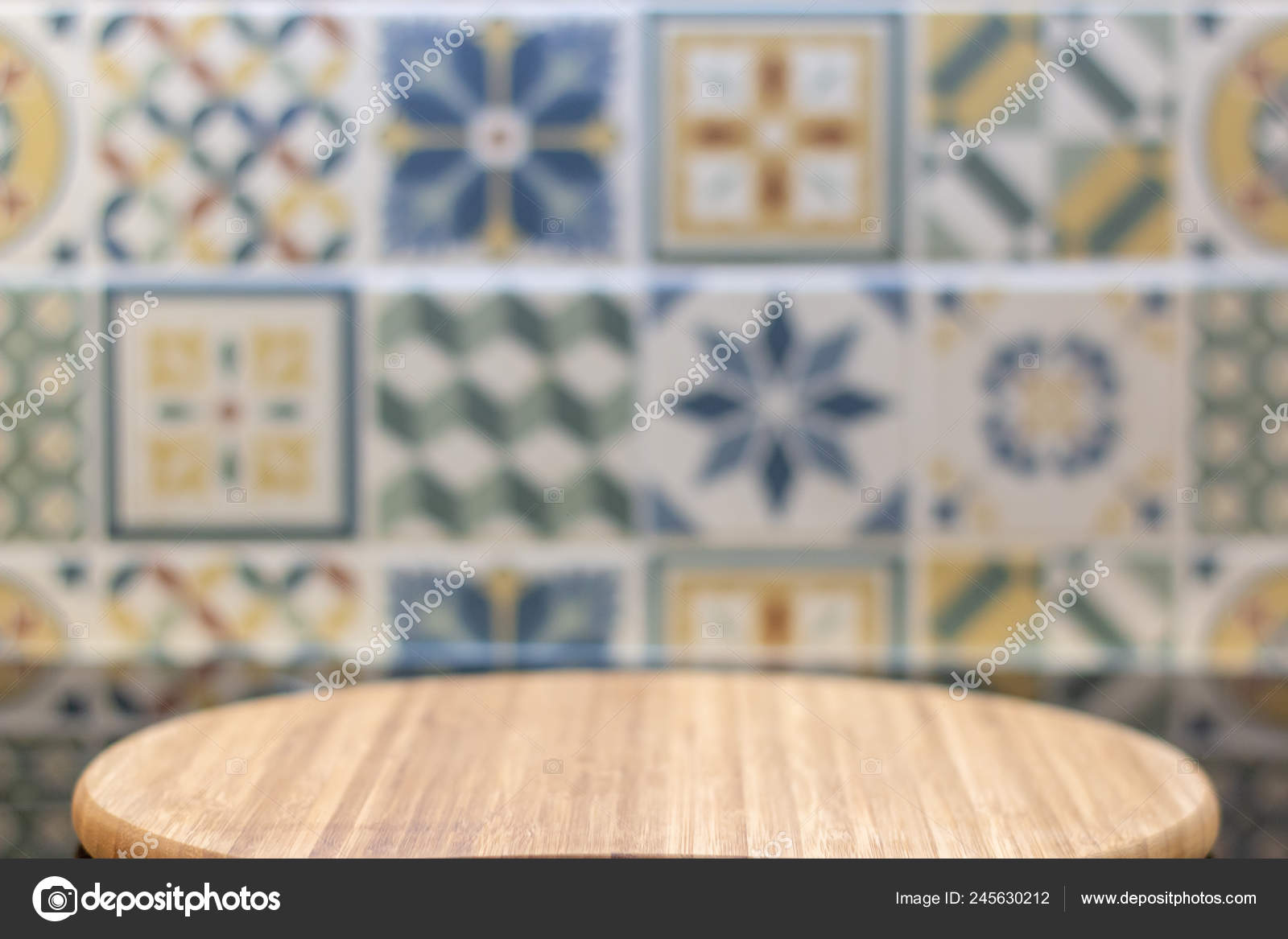 Empty Black Table Cutting Board Wall Multicolored Tiles Product Display Stock Photo C Shunddima Gmail Com 245630212