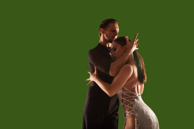 Couple dancers  perform latin dance on wgreen screen background. stock vector