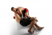 Photo MMA fighters isolated on white.