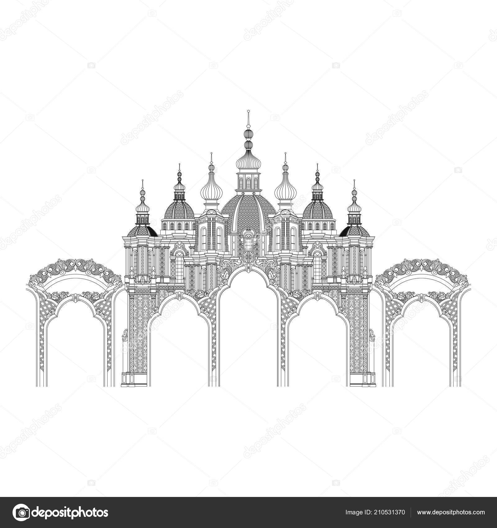 Vintage Arch Vector Thin Outline Castle Linear Style Stock Vector