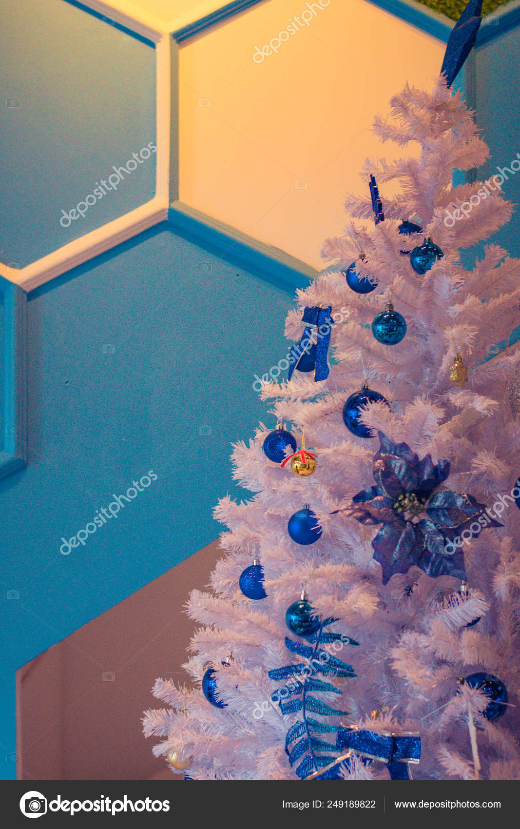 White Christmas Tree With Blue Balls And Twinkling Lights Stock Photo Image By C Photographjoe 249189822