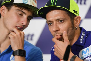 Buriram-Thailand-6OCT2018:Valentino rossi #46 Movista yamaha team press conference before PTT thailand grand prix 2018 at chang international circuit,thailand