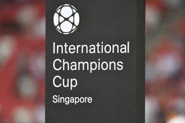 Kallang-Singapore-30Jul2018:Logo on board during icc2018 between Atletico madrid against at paris saint-german at national stadium,singapore