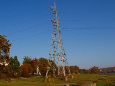 high tension posts with ropes over the nemunas river