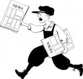Fotografie Paperboy läuft mit einer Packung Zeitungen, Folge 8 Illustration schwarzer Vektorumrisse, keine weißen Objekte