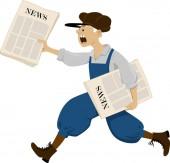 Fotografie Paperboy läuft mit einer Packung Zeitungen, Folge 8 Vektorillustration