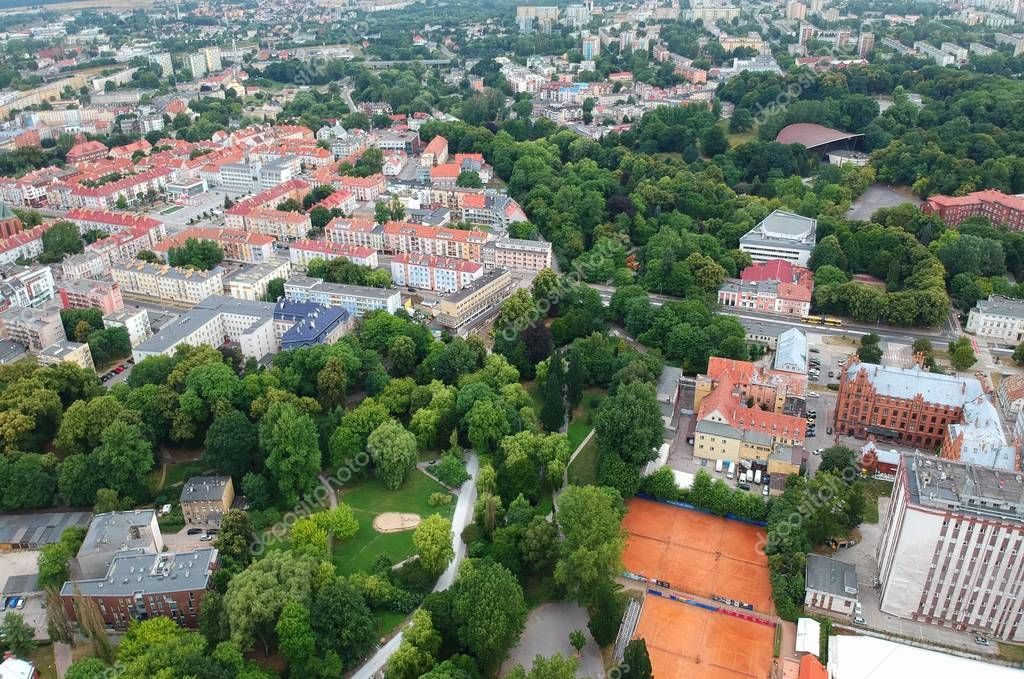 Aerial view on Koszalin city park and buildings.