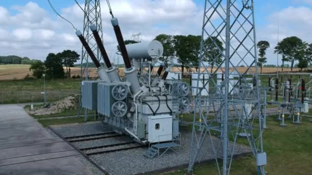 High voltage energy transformer station, aerial view
