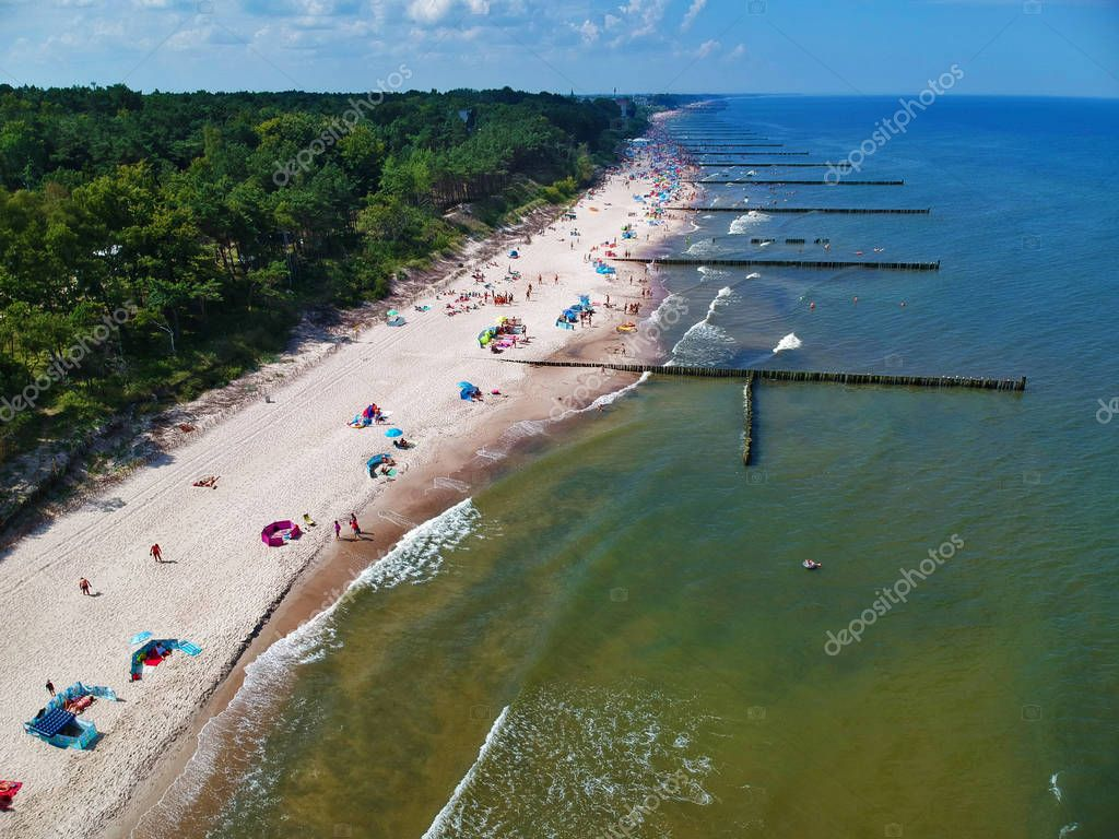 Aerial view on sand beach, breakwaters, forest and sunbathers.