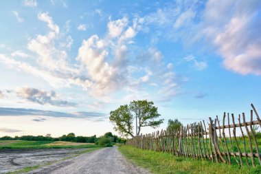 Rural landscape - dirt road, wooden fence, trees, fields, clouds in the blue sky.