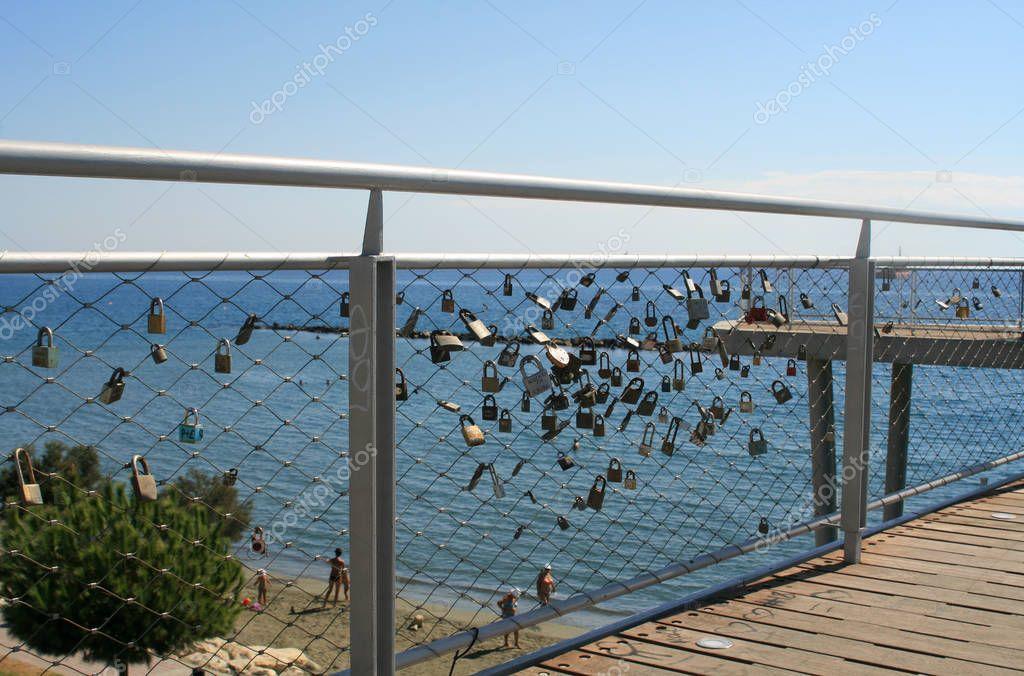 Love padlocks on Cyta footbridge in Limassol, Cyprus