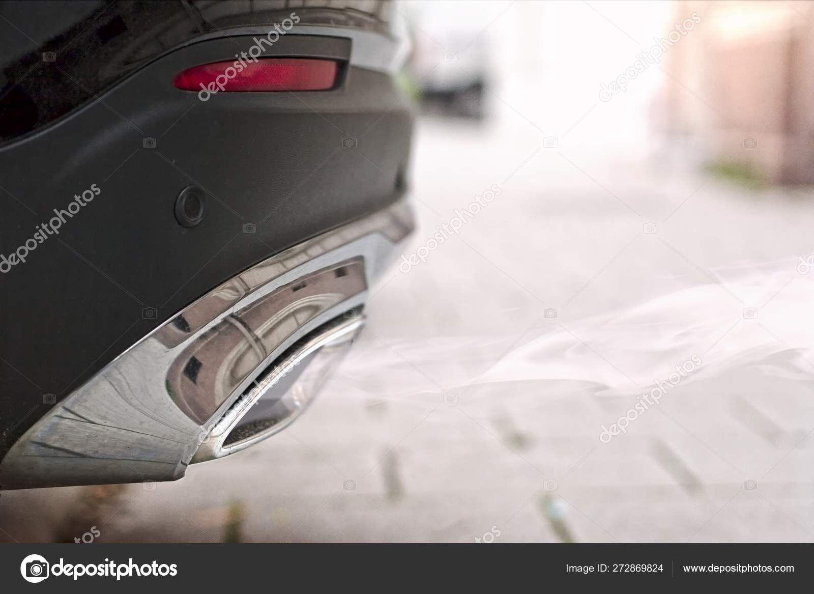 Close Smoky Exhaust Pipe Starting Diesel Car Stock Photo