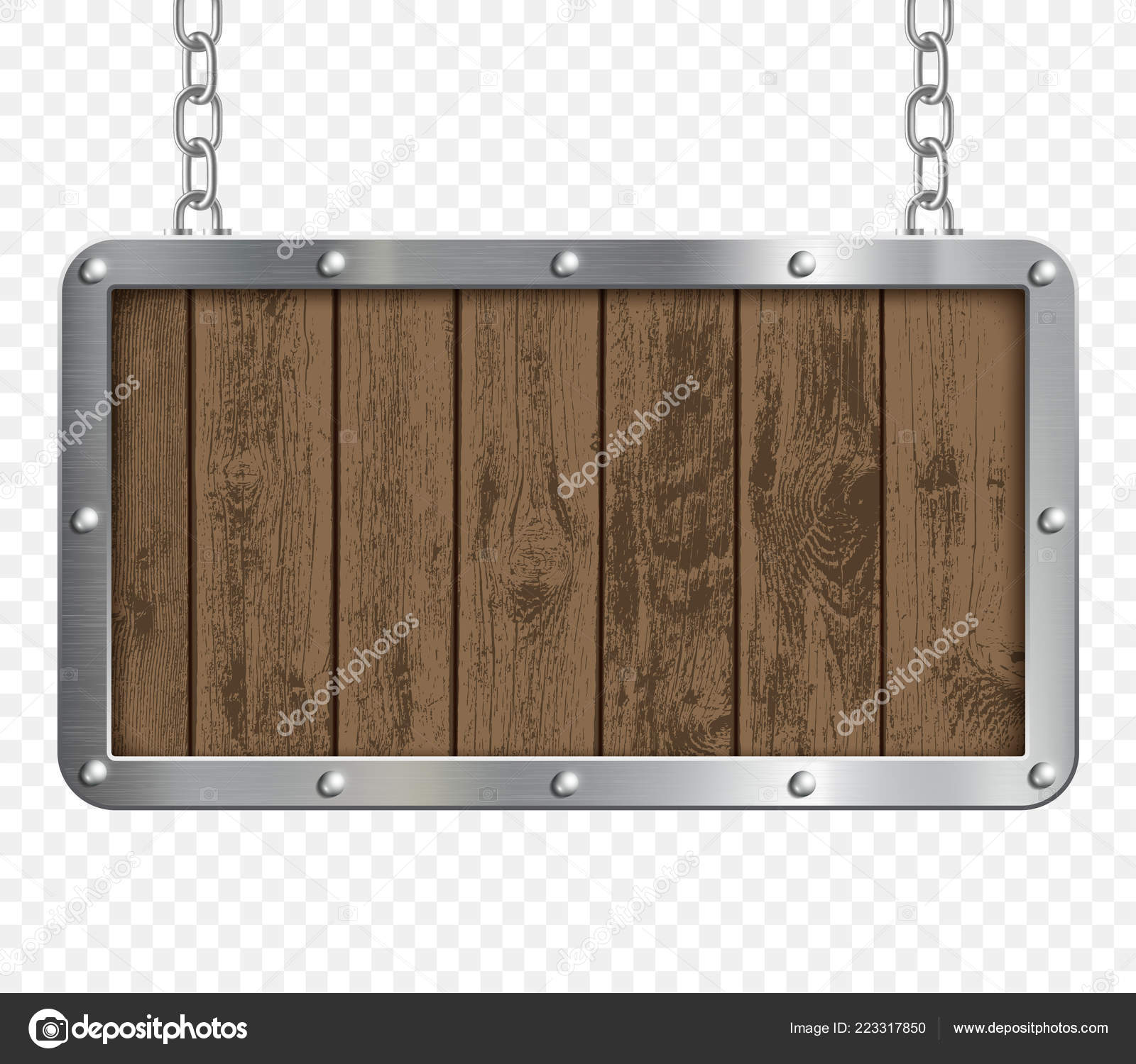 Retro Signboard Made Metal Wood Hanging Chain Transparent