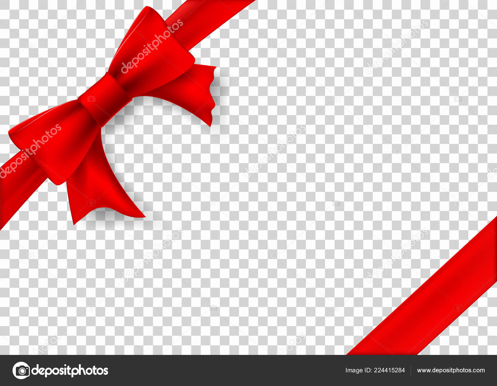 Red Ribbon Bow Gift Box Template Transparent Background Stock Vector