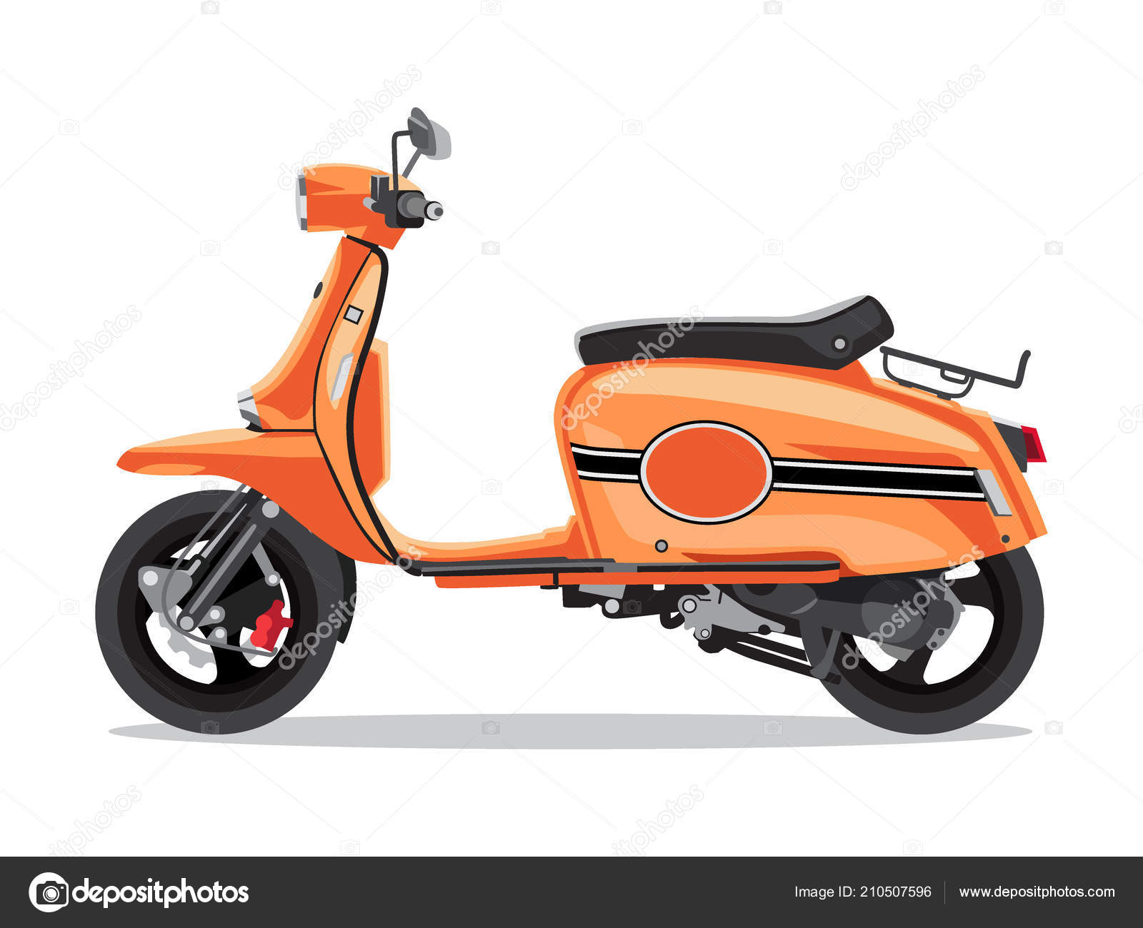 vector orange retro scooter flat style side view moped for