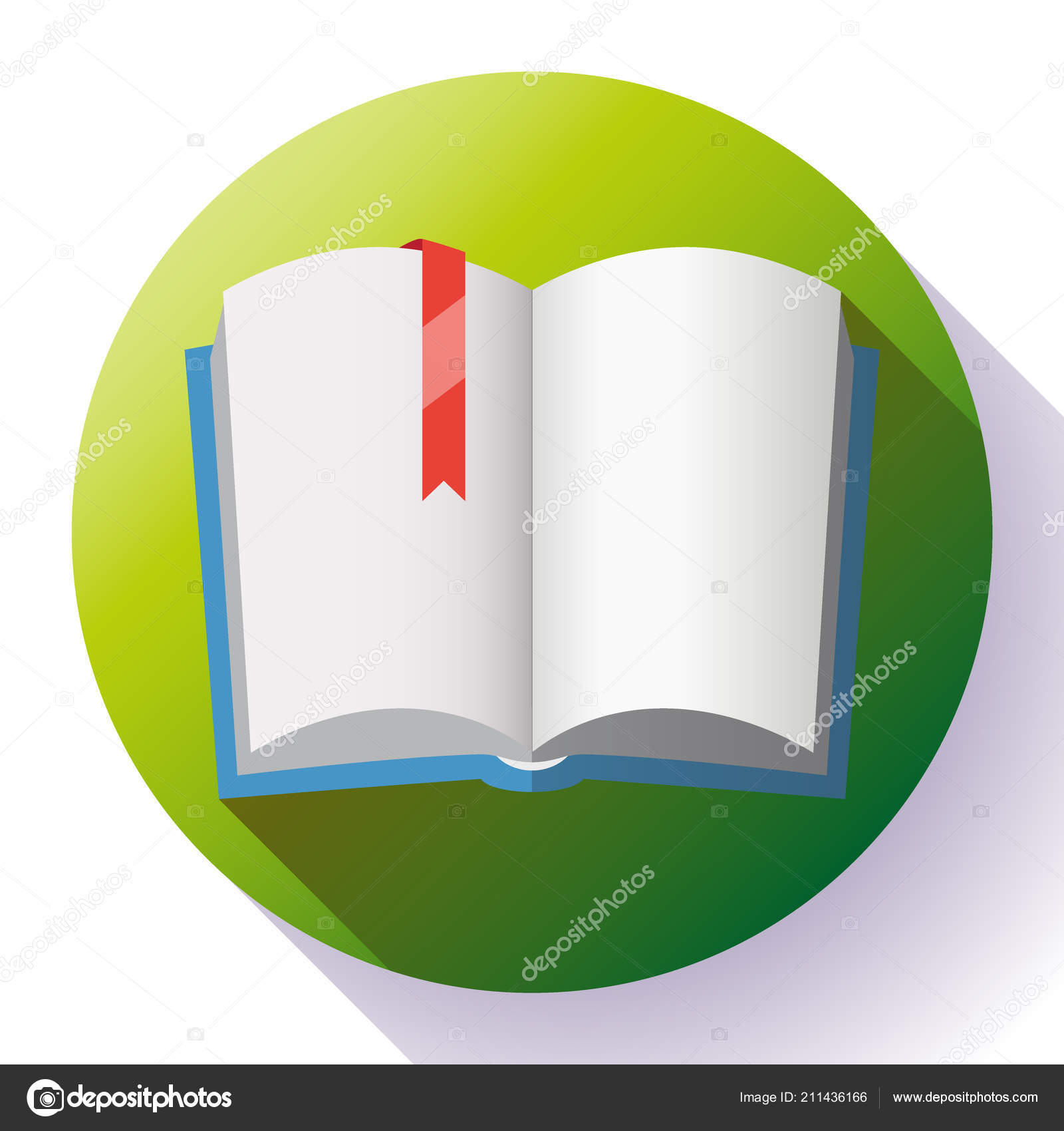 icon of open textbook with red bookmark. — stock vector © marysan_