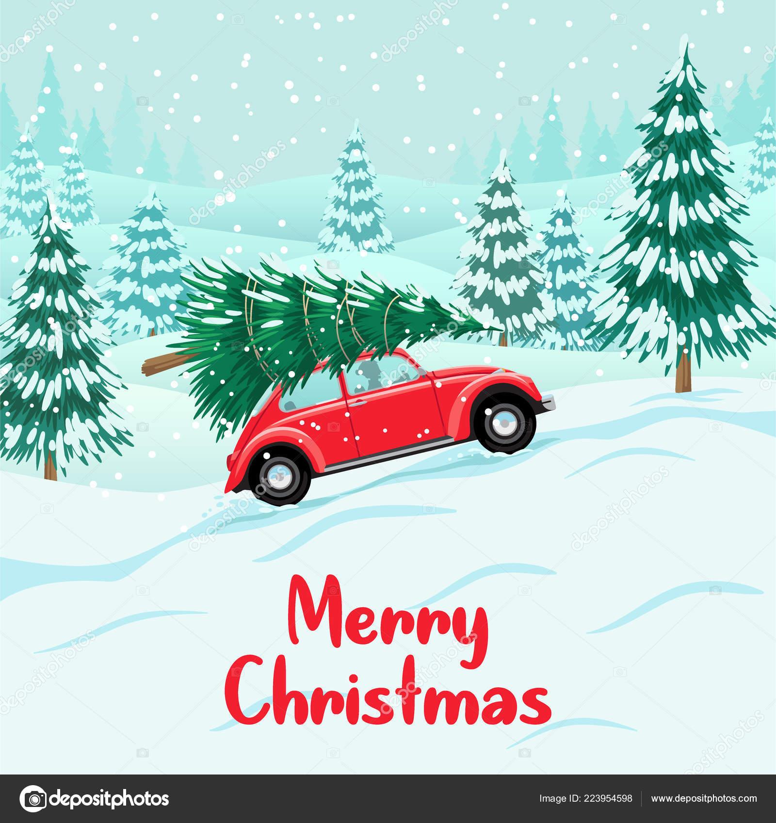 Auto Weihnachtsbaum.Rotes Auto Mit Weihnachtsbaum Auf Dach Lieferung Stockvektor