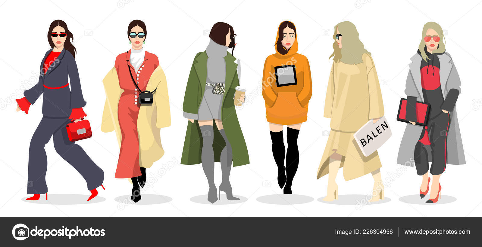 9d3b679252 Set of women dressed in stylish trendy clothes — Stock Vector ...