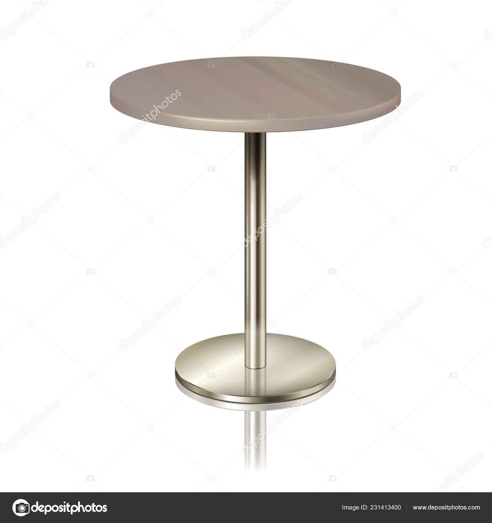 Runder Tisch über Eine Chrom Metall Stehen Ohne Eine Tischdecke