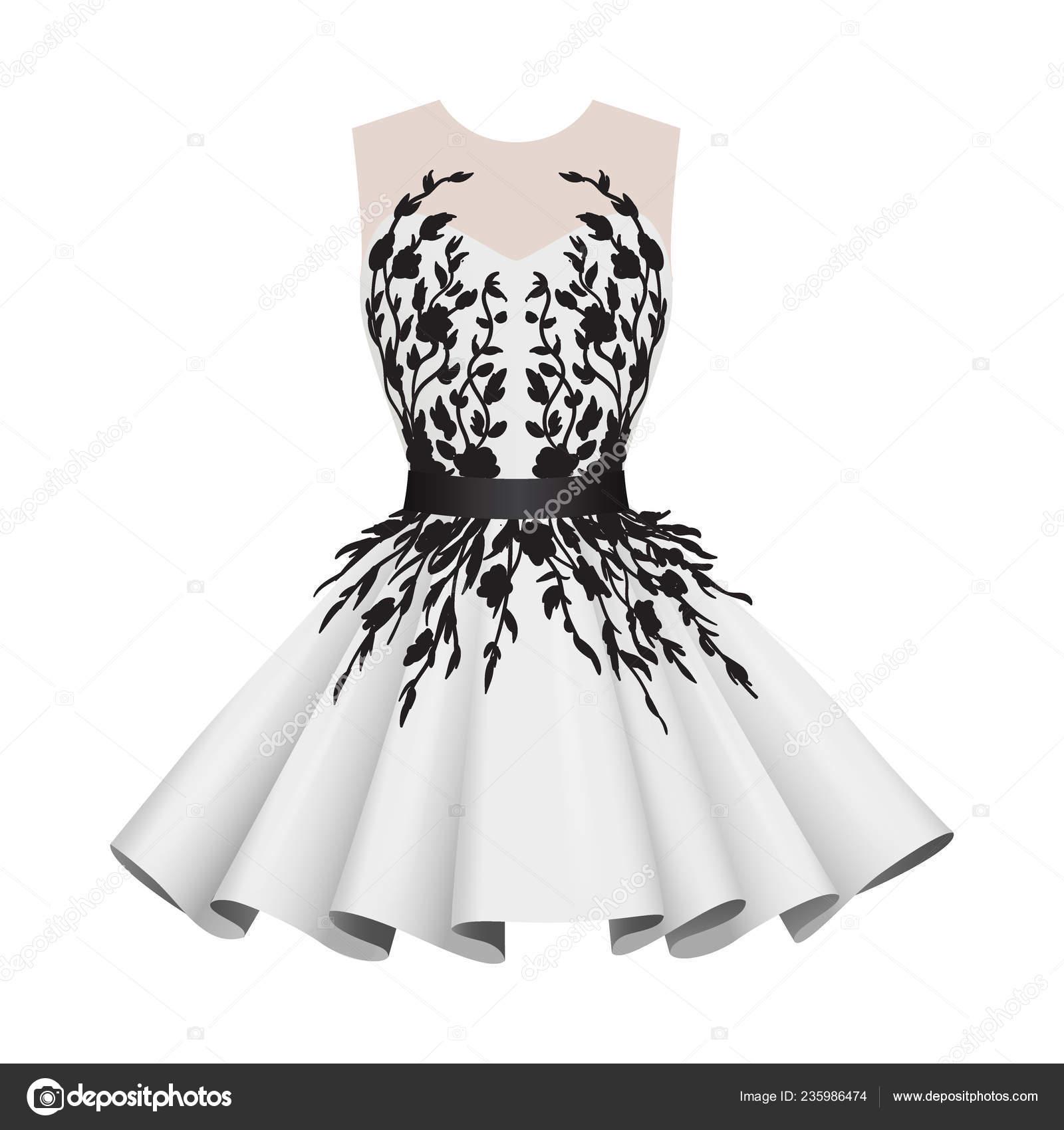 Elegantní bílá s černým ženy koktejlové šaty — Stock Vektor ... 7815812384