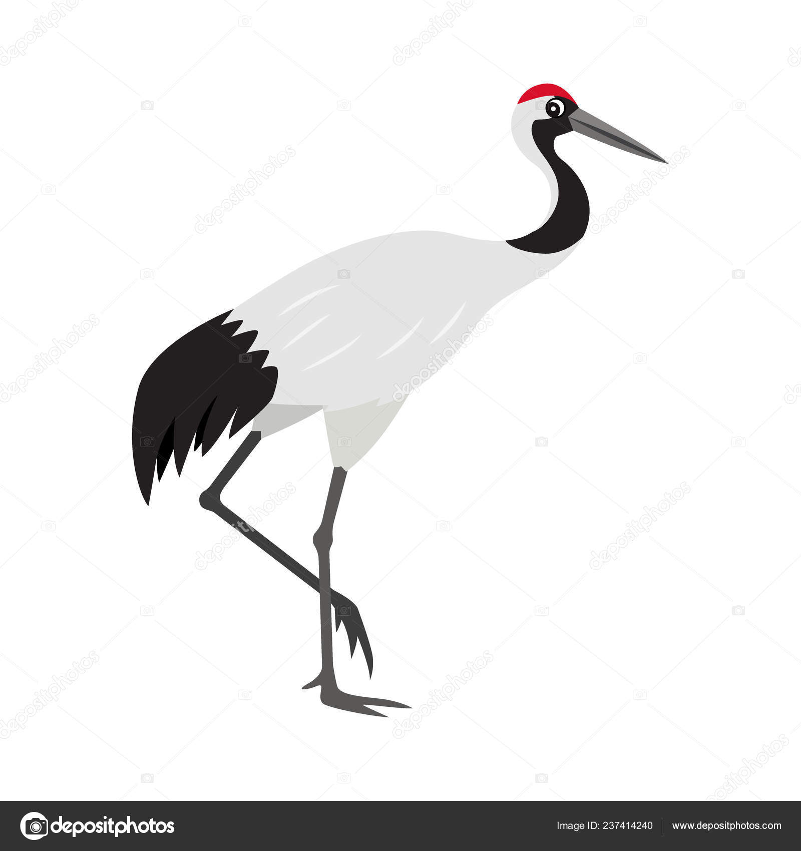 Friendly Cute Red Crowned Or Japanese Crane Icon Colorful Wild Bird Stock Vector C Marysan 237414240 Daffy duck elmer fudd donald duck bugs bunny, duck, heroes, cartoon, bird png. https depositphotos com 237414240 stock illustration friendly cute red crowned or html