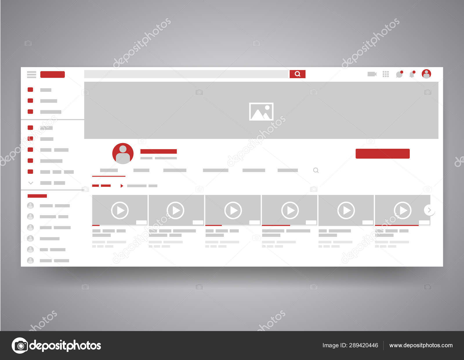 Web browser youtube video channel user interface page with