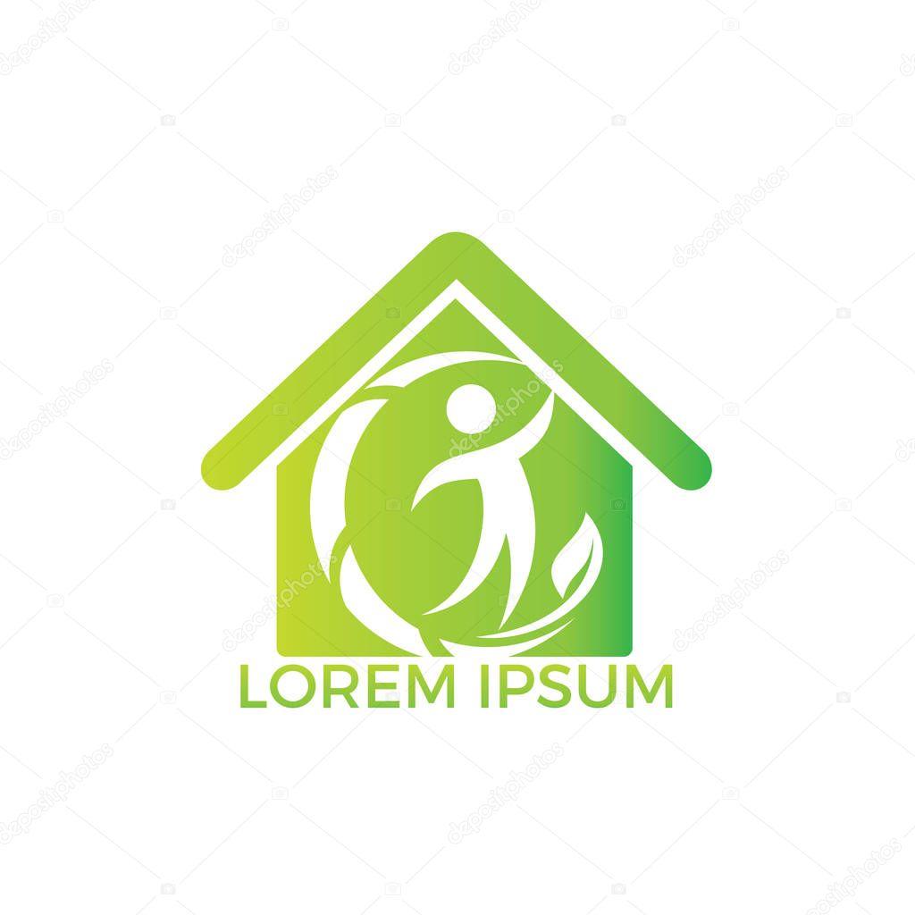 Human Health logo design. Healthcare home shape vector logo concept illustration. Logo design template for clinic, hospital, medical center, doctor and etc.