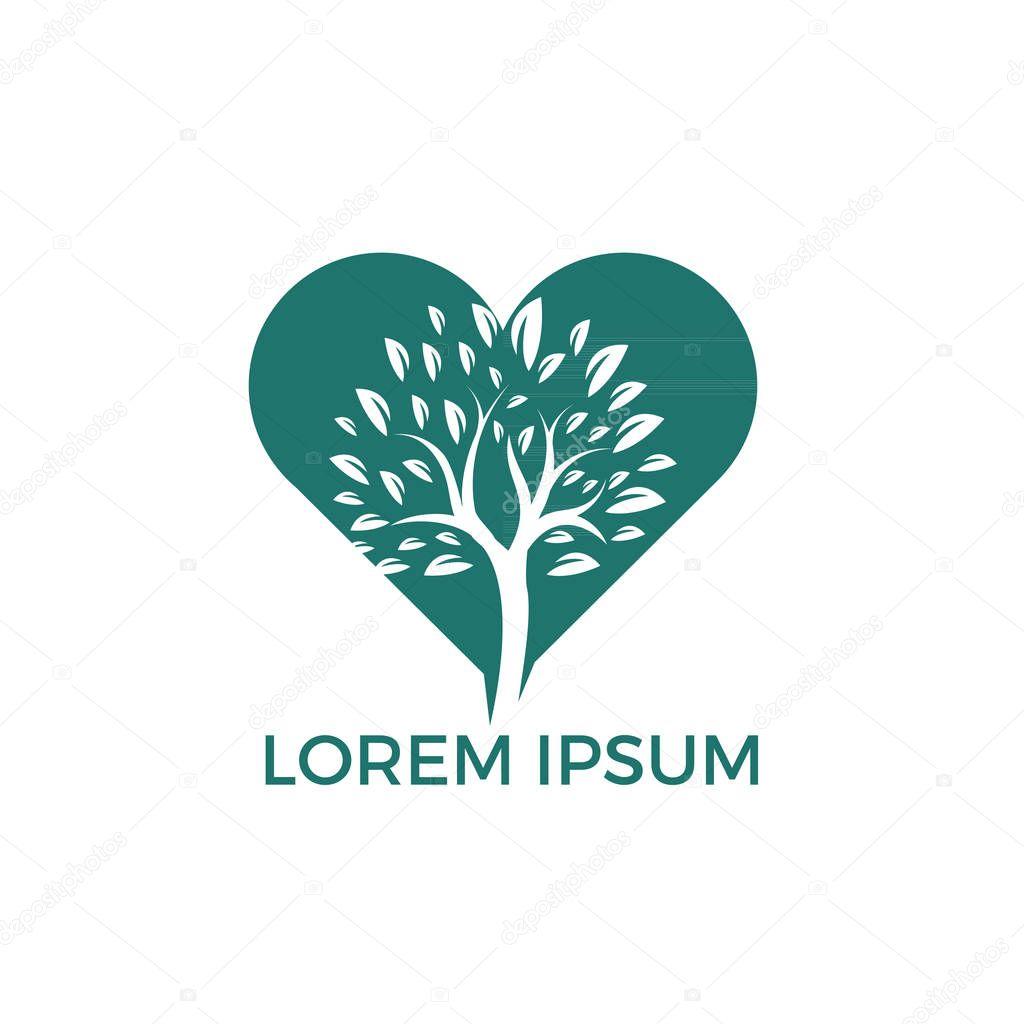 Tree heart logo design. Health and care logo design template.