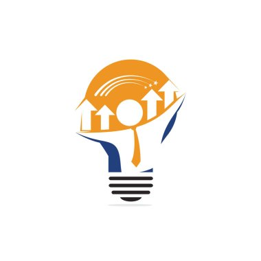Businessman and graph inside a light bulb logo design. Business concept. Technology idea concept illustration.