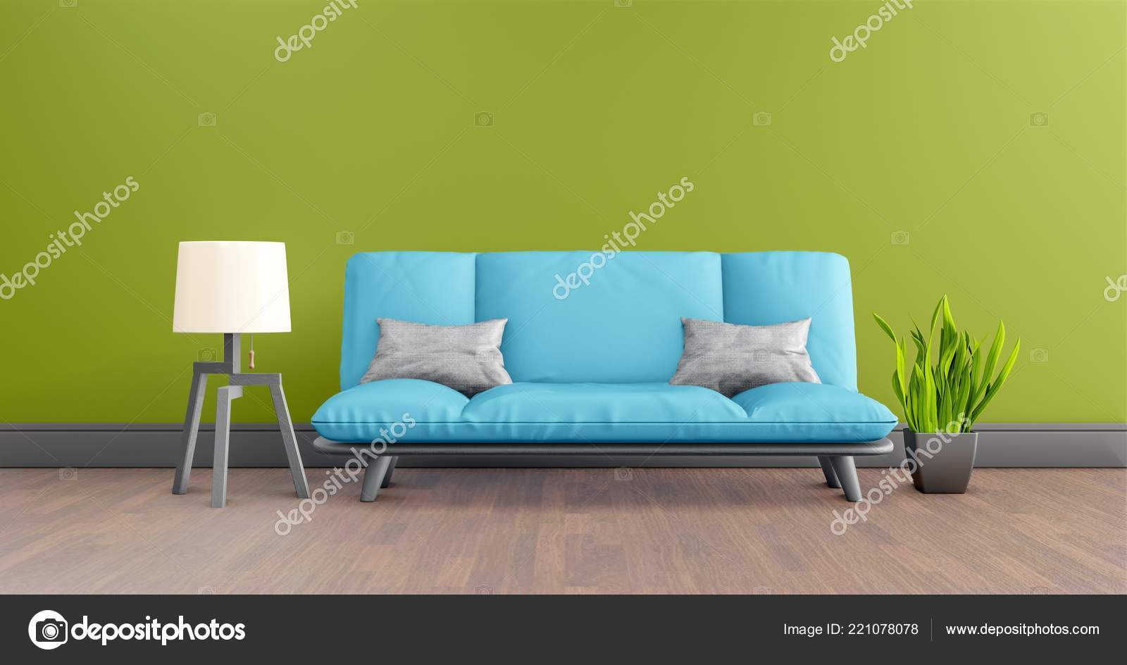 Terrific Green Living Room Interior Blue Leather Sofa Lamp Plant Ibusinesslaw Wood Chair Design Ideas Ibusinesslaworg